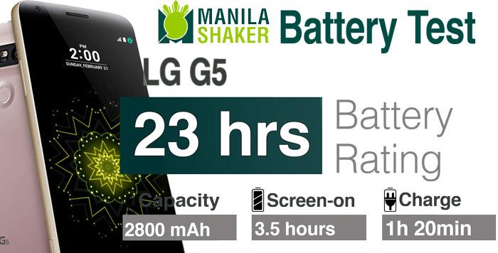 LG G5 battery life rating PC Mark