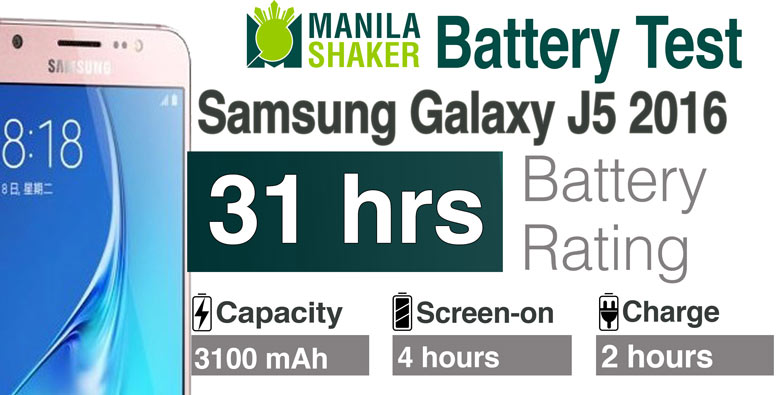 Samsung Galaxy J5 2016 Battery Life Rating Review