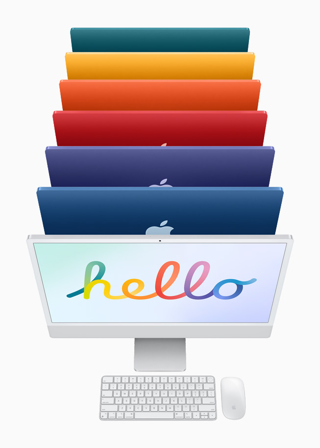 Silver iMac with color-matched Magic Keyboard and Magic Mouse, followed by iMac in six colors.