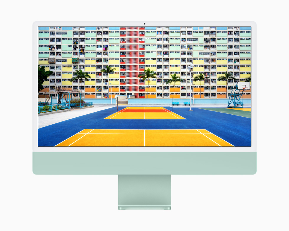 A vibrant, colorful outdoor tennis court is brilliantly displayed on the 4.5K Retina display of iMac.